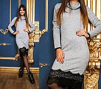 Теплое платье из ангоры меланж с кружевом Воротник-Хомут серое