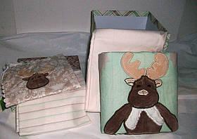 Детское постельное белье KARACA HOME Deer с вышивкой для младенцев Зеленый