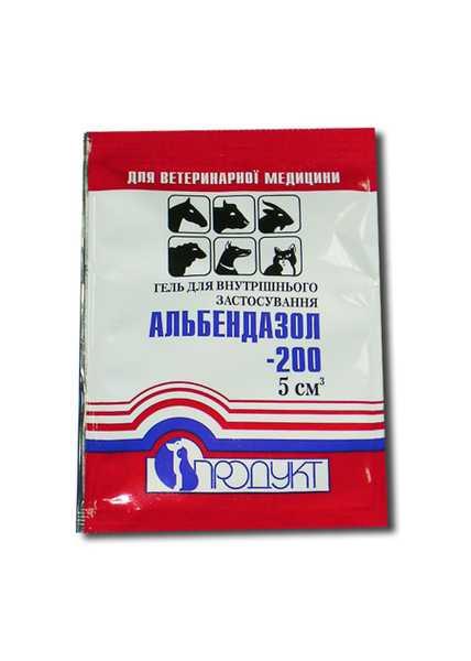 Альбендазол-200 гель 5 мл (Продукт) ветеринарний протипаразитарний препарат