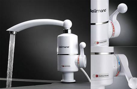 Кран водонагреватель мгновенный проточный электрический Delimano , фото 2