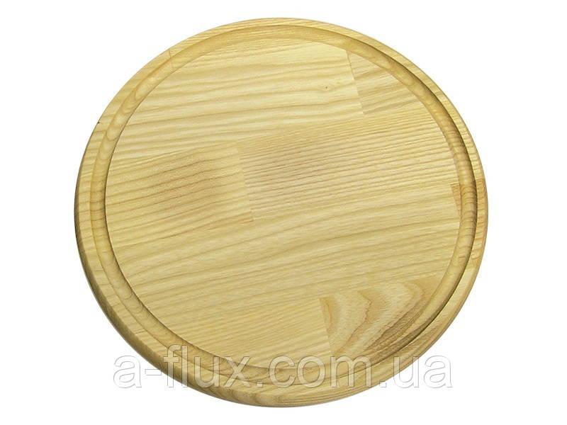 Доска для пиццы круглая со сточным желобом Кедр 240*20 мм