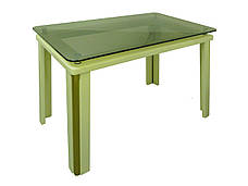 Стеклянный стол на кухню на деревянных ножках Гелиос Антоник, цвет на выбор, фото 2