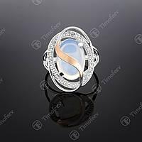 Серебряное кольцо с лунным камнем и фианитами. Артикул П-199