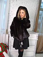 Норковый полушубок шуба с капюшоном 42 44 размер