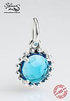 """Серебряная подвеска-шарм Пандора (Pandora) """"Голубая капля"""" для браслета"""