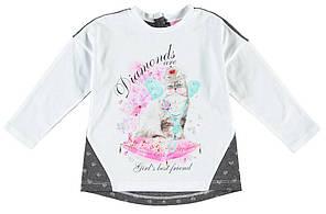 Реглан для девочки LC Waikikiв белого цвета с котиком на груди