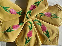 Набор сервировочных салфеток из хлопка с вышивкой ручной работы  6 шт.