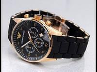 Мужские часы Армани Эмпорио черный браслет и циферблат корпус металлический