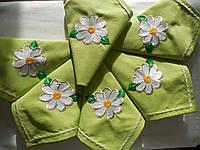 """Набор сервировочных салфеток из хлопка с вышивкой ручной работы """"Ромашки D & G""""  6 шт."""