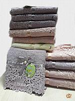 Полотенце для лица Кружево с бусинкой лаванда