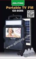 Портативный телевизор GDLITING GD-8086 с фонарем и радио на солнечной панели