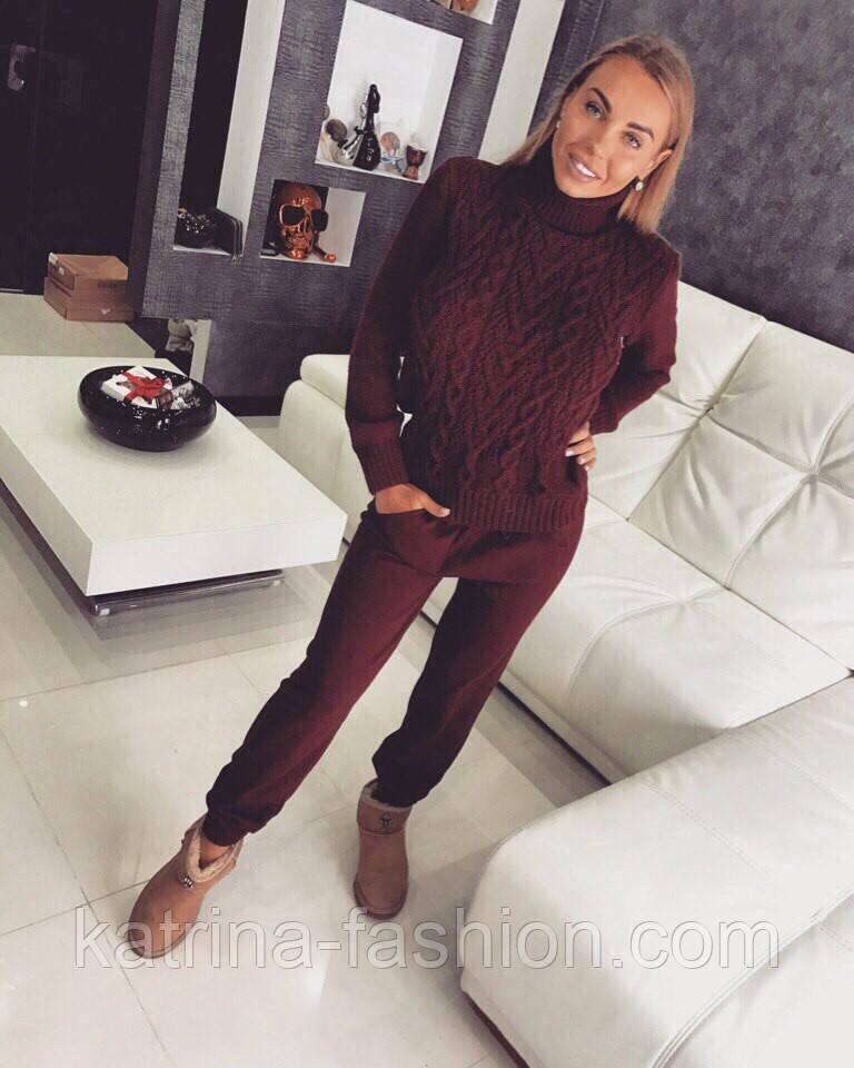 женский стильный теплый вязаный костюм свитер и штаны 5 цветов