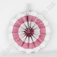 Подвесной веер, белый в светло-розовую полоску, 30 см - бумажный декор-розетка
