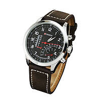 Мужские часы CURREN 8152 кварцевые коричневый ремешок черный циферблат металлический корпус