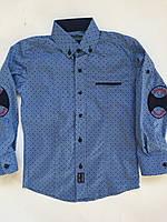 Рубашка на кнопках с заплатками на локтях для мальчиков 6-14 лет