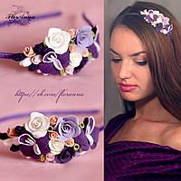 """Обруч для волос с цветами """"Фиолетовые орхидеи с розами"""""""