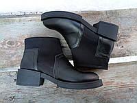 Женские ботинки, неопрен + кожа, черные / низкие ботинки женские 2017, модные