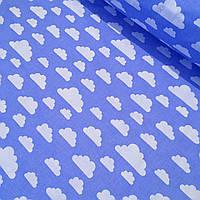 Ткань хлопковая с белыми облаками на темно-голубом  фоне №418