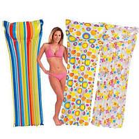 Пляжный надувной одноместный матрас Intex 59711 3 вида расцветки, 183x69 см
