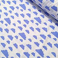 Ткань хлопковая с  темно-голубыми облаками на белом фоне №419