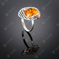 Серебряное кольцо с янтарем. Артикул П-307