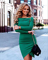 Платье  Футляр открытые плечи зелёное