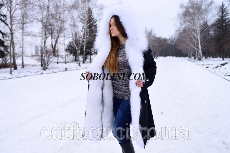 Шикарная парка с мехом полярной лисы Amber Frost, цвет плащевки черный
