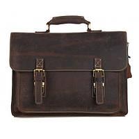 Кожаный мужской портфель TIDING BAG 7205R коричневый