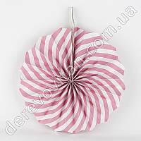 Подвесной веер, бело-розовый, 30 см - бумажный декор-розетка