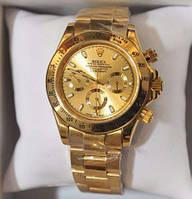 Мужские часы Rolex Daytona Gold механические золотой корпус ремешок циферблат