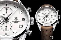 Мужские часы Tag Heuer First in Space механические коричневый ремешок белый циферблат корпус металл.