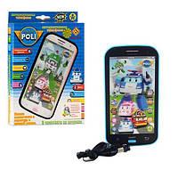 Телефон интерактивный Робокар Поли (Robocar Poli), муз-звук (рус, англ), свет, сказки, Цвет Голубой