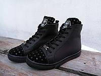 Женские натуральные ботинки, кожа + замша, черные / ботинки женские из натуральной  кожы, модные