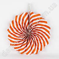 Подвесной веер, бело-оранжевый, 30 см - бумажный декор-розетка