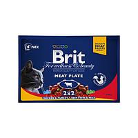 Brit Premium Cat Pouches Meat Plate консервы для кошек Мясная тарелка, 400г