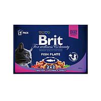 Brit Premium Cat Pouches Fish Plate консервы для кошек Рыбная тарелка, 400г
