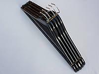 Плечики вешалки тремпеля деревянные черного цвета, длина 45 см,в упаковке 5 штук