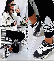 Молодежный стильный женский спортивный костюм Adidas.Черно белый.