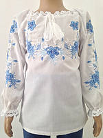 Блузка, украинская вышиванка льняная Красуня для девочки белая