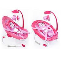 Шезлонг-качалка Baby Tilly мобиль с игрушками  до 9 кг розовый