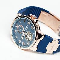 Мужские часы Ulysse Nardin Улис Нардин кварцевые синий ремешок золотой корпус синий циферблат