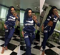 Молодежный стильный женский джинсовый спортивный костюм Nike.Синий