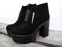 Женские  ботинки зима, каблук 10 см, натуральная замша, черные / замшевые ботинки женские, модные
