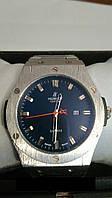 Мужские часы Hublot кварцевые стальной корпус и браслет циферблат синий