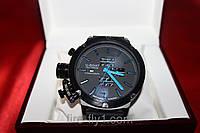 Мужские часы U-BOAT № 0284 кварцевые корпус черный полированная сталь стрелки и метки времени синие для левши