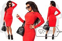 Теплый костюм: кофта+юбка из ангоры рубчик красный