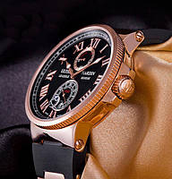 Мужские часы Ulysse Nardin Улис Нардин механические черный ремешок золотой корпус черный циферблат