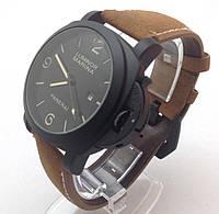 Мужские часы Panerai Luminor кварцевые коричневый ремешок коричневый корпус циферблат
