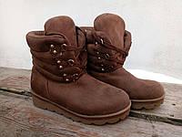 Женские ботинки, эко нубук, коричневые / ботинки на шнуровке женские, модные