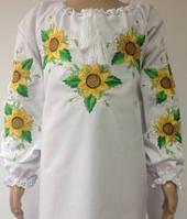 Блузка, украинская вышиванка из батиста Ждана для девочки белая
